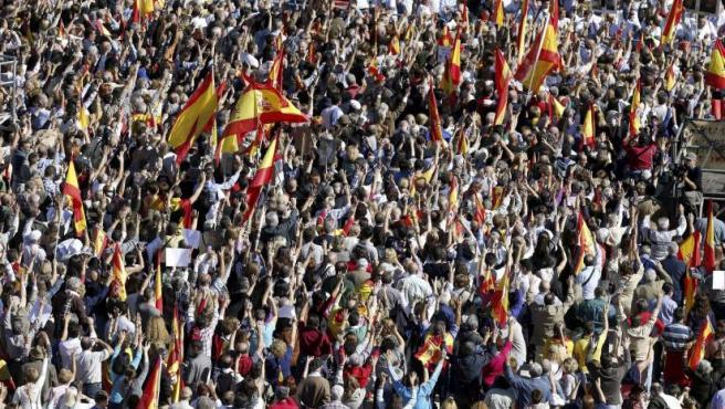 Imagen de la concentración en la Plaza de Colón en Madrid para protestar por el fin de la 'doctrina Parot'.