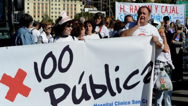 Marea blanca por la sanidad pública el domingo 27 de octubre en Madrid.