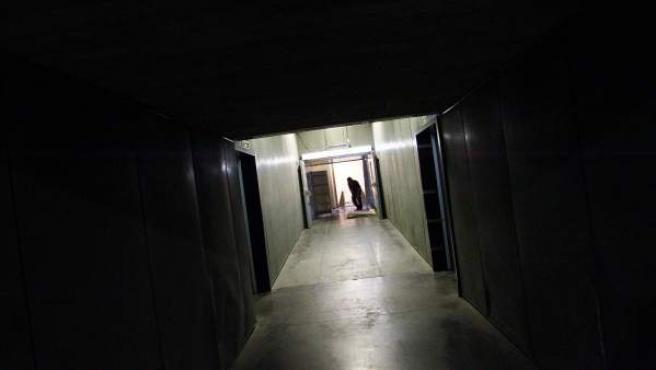 Interior de un pasillo de evacuación de la pista central del Madrid Arena.