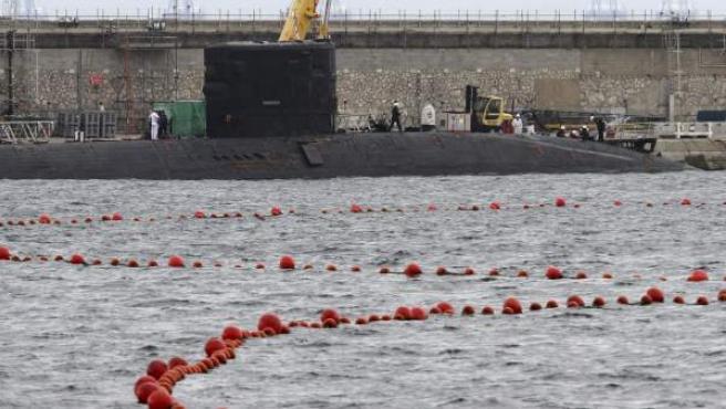 Imagen de archivo del submarino nuclear británico 'Trenchant' en la base naval de Gibraltar.