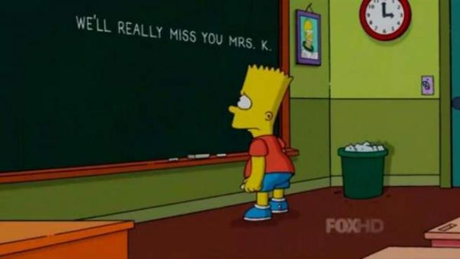 Burt Simpson se despide de su profesora.