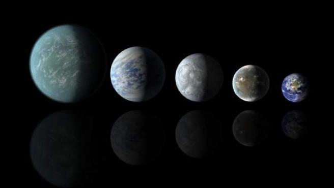 Recreaciones de los planetas con características parecidas a la Tierra en la zona habitable de un sistema.