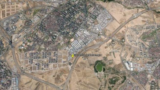 La zona donde se localizó el epicentro del terremoto, al sur de Alcorcón.