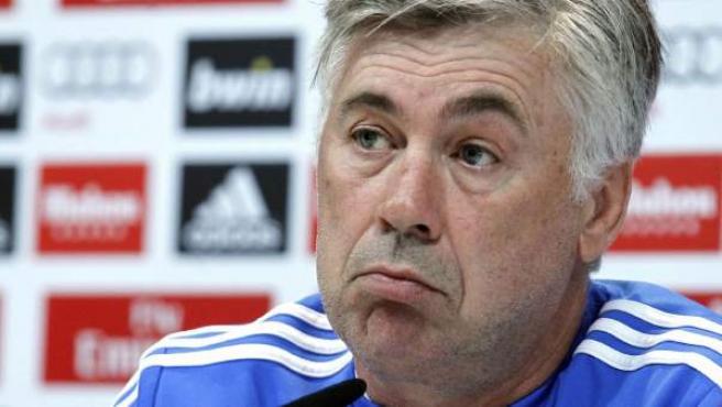 El entrenador del Real Madrid, Carlo Ancelotti, durante una rueda de prensa.
