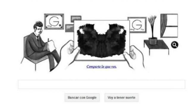 Imagen del doodle interactivo que el buscador Google ha dedicado al Test de Rorschach.