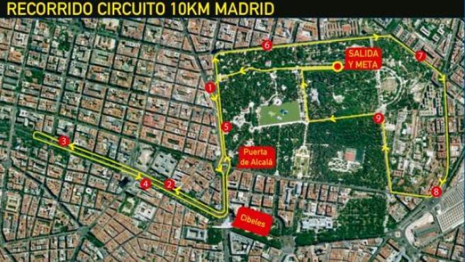 Plano del recorrido de la I Carrera 10km Madrid 2013, que empieza y acaba en el Parque del Retiro.