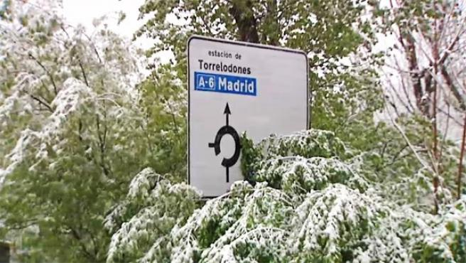 Sorprendente nevada en Madrid