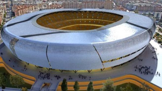 Diapositiva del aspecto del nuevo estadio del Valencia Club de Fútbol tras la reducción de sus costes de fabricación en 60 millones de euros.