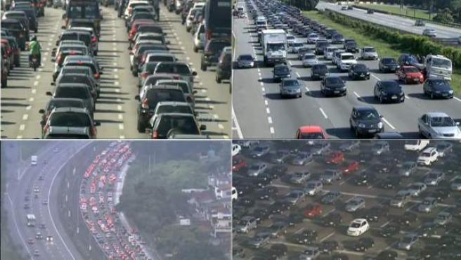 Composición de fotos del atasco récord de Sao Paulo, en Brasil, en el cual se acumularon 306 kilómetros de retenciones.