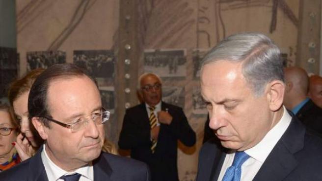 El presidente francés (Hollande) y el israeli (Netanyahu), este lunes en Jerusalén.