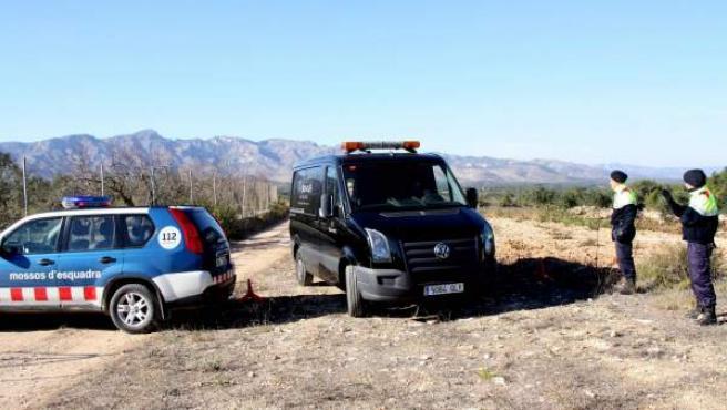 Los servicios funerarios trasladan el cuerpo del hombre tiroteado en una zona rural dentro del término municipal del Perelló (Tarragona), un crimen por el que ha sido arrestada su esposa.