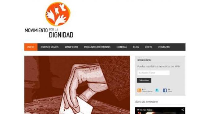 Imagen de la página web del Movimiento por la Dignidad.