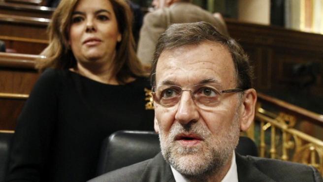 El presidente del Gobierno, Mariano Rajoy, en una sesión de control al Ejecutivo en el Congreso de los Diputados.