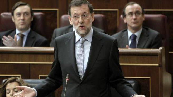 El presidente del Gobierno, Mariano Rajoy, en el Congreso.