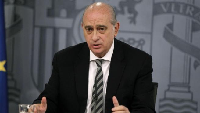 El ministro del Interior, Jorge Fernández Díaz, durante la rueda de prensa posterior a un Consejo de Ministros.