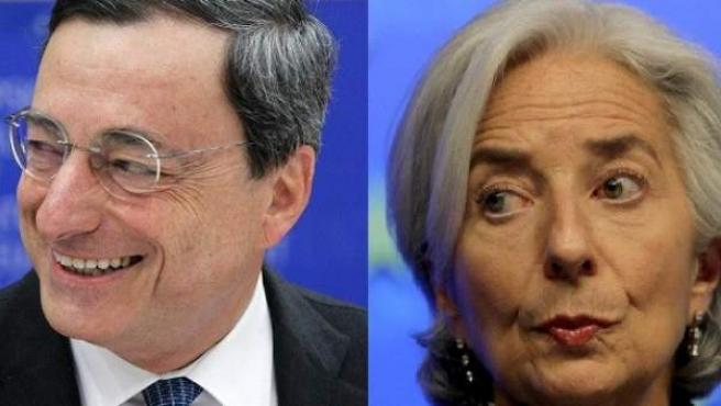 El presidente del BCE, Mario Draghi (i), la directora gerente del FMI, Christine Lagarde (c) y el presidente de la CE, Durao Barroso (d).