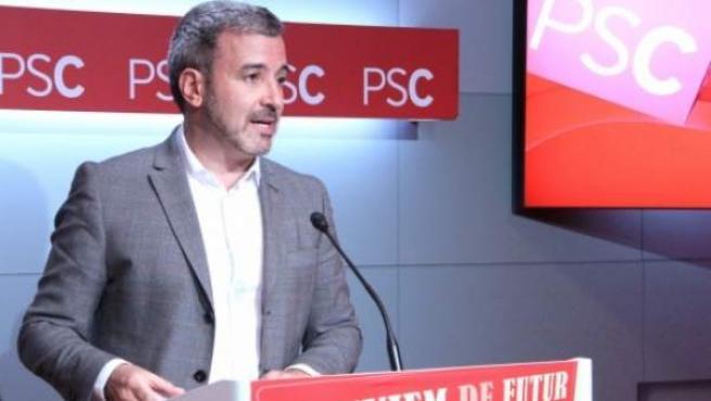 El portavoz del PSC, Jaume Collboni, en comparecencia ante los medios en la sede del PSC, en Barcelona.