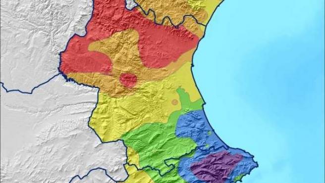 Mapa de precipitaciones en la Comunitat