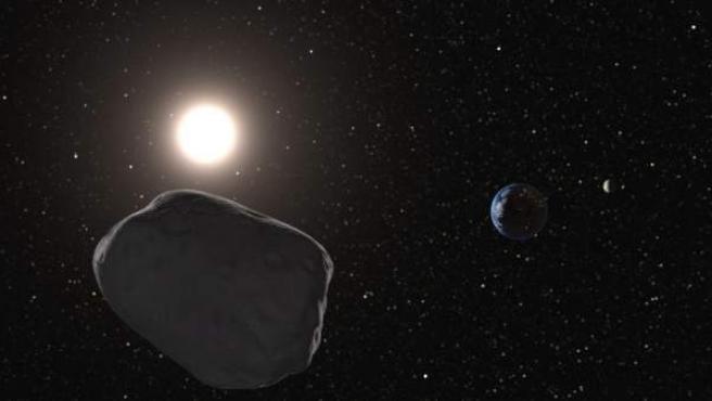 Representación realizada por ordenador en la que se ve un asteroide cercano a la Tierra.
