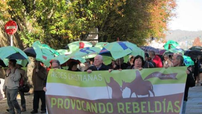 Manifestación de católicos de base en Santiago