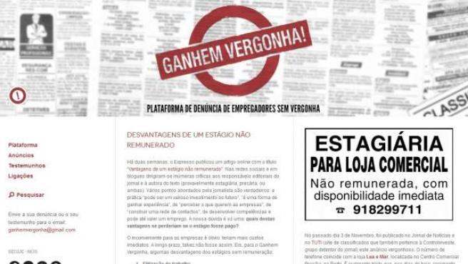 Captura de la página principal de Ganhem vergonha.