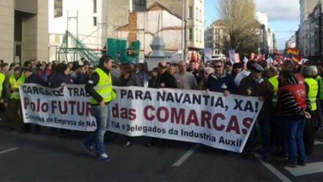 Manifestación en Ferrol exigiendo trabajo para el sector naval.