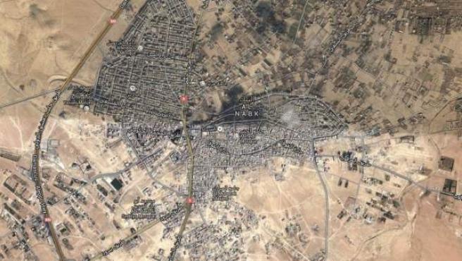 Mapa de la localidad siria de Nabek.