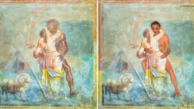 Fresco pompeyano 'actualizado' con el propio Antonio Manfredi como modelo