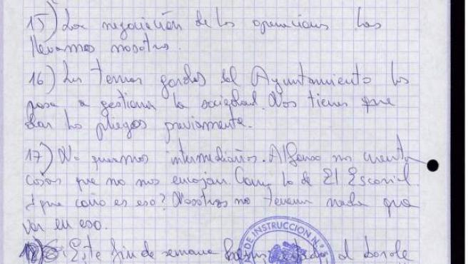 Algunos de los 23 puntos que la trama Gürtel redactó para amenazar al exalcalde de Boadilla.