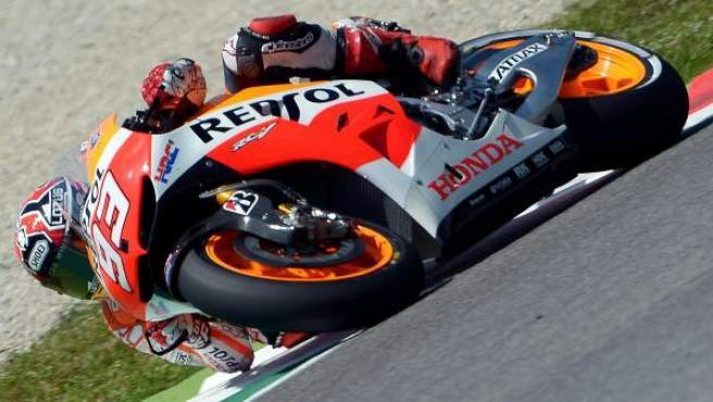 El piloto ilerdense Marc Márquez, durante su participación en el Gran Premio de Italia de motociclismo 2013.