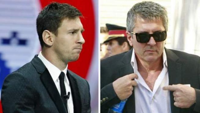 El futbolista Leo Messi y su padre, Jorge, en imágenes de archivo.
