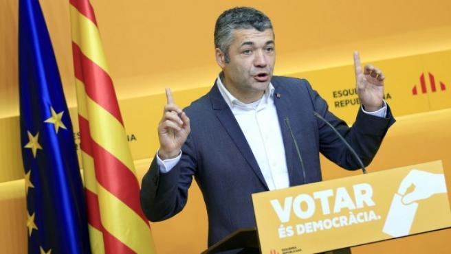 El vicesecretario general de comunicación de Esquerra Repúblicana de Cataluña (ERC), Oriol Amorós, durante la rueda de prensa posterior a la reunión de la Permanente Nacional del partido.