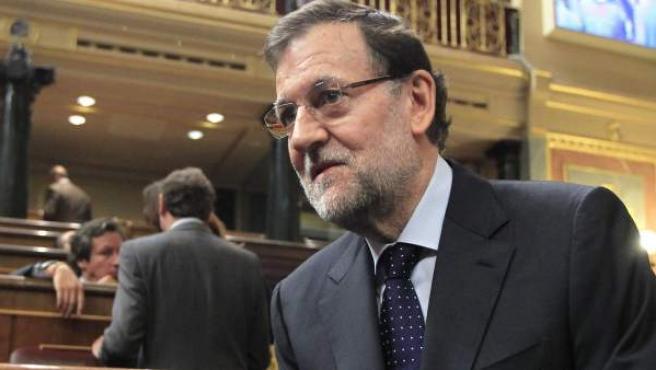 El jefe del Ejecutivo, Mariano Rajoy, en la sesión de control al Gobierno.