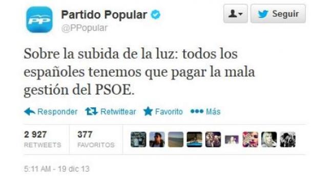El Partido Popular ha responsabilizado al PSOE de la subida de la luz en su cuenta de Twitter.