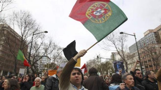 Protestas en Portugal contra la troika.