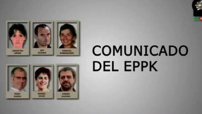 """Captura del vídeo emitido por el colectivo de presos vascos en el que admiten """"el daño generado""""."""