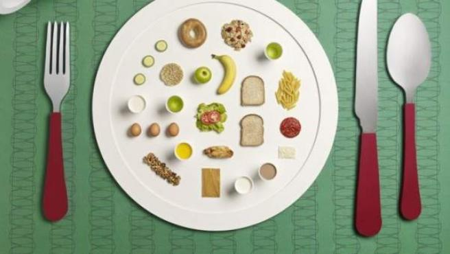 Recreación artística del menú de una deportista.
