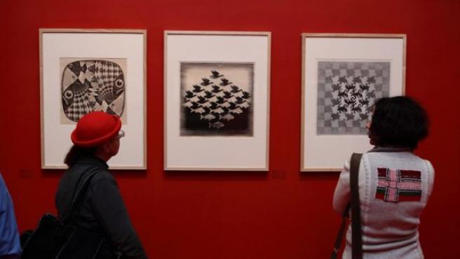 Imagen de una de las salas de la exposición de Escher en el Museo de Arte Moderno de Moscú