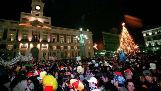 Nochevieja en la Puerta del Sol de Madrid.