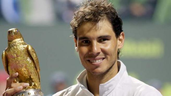 Rafa Nadal tras lograr la victoria en el torneo de Doha.