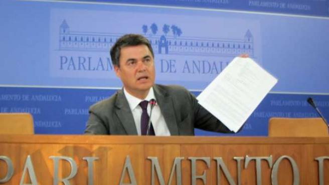 El portavoz del PP-A en el Parlamento, Carlos Rojas, hoy