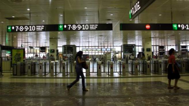 Vestíbulo de la estación de Sants de Barcelona.