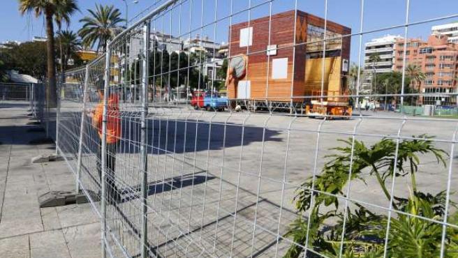 Montaje del escenario del Carnaval de Las Palmas de Gran Canaria 2014