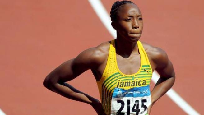 La atleta jamaicana Sherone Simpson, durante los Juegos Olímpicos de Pekín de 2008.
