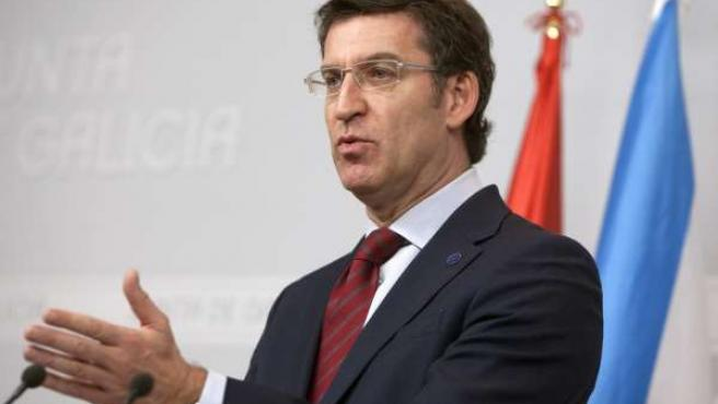 Alberto Núñez Feijóo, en la rueda posterior al Consello del 12 de diciembre