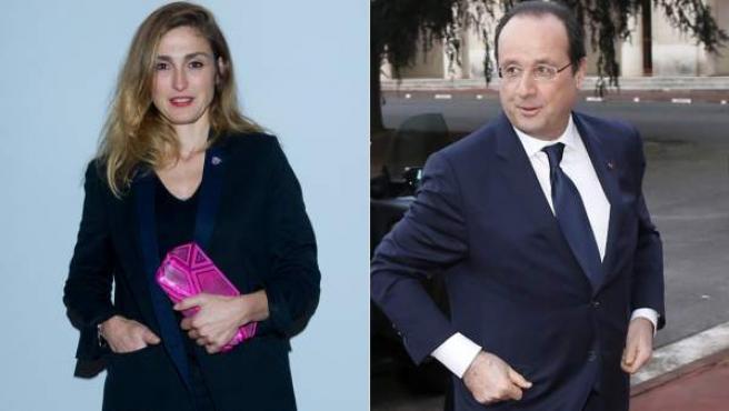Montaje con fotos del presidente francés, François Hollande, y la actriz Julie Gayet.