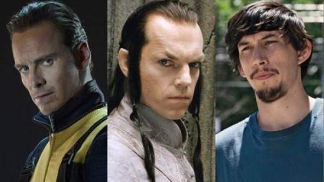Los actores Michael Fassbender, Hugo Weaving y Adam Driver.
