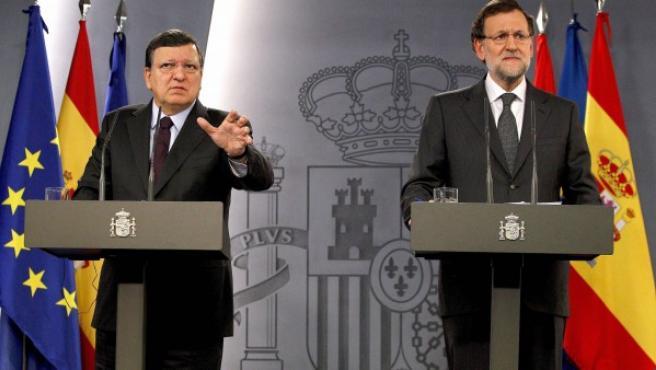 El jefe del Ejecutivo y el presidente de la Comisión Europea se han reunido este viernes en el Palacio de la Moncloa tras la reunión del segundo con el rey.
