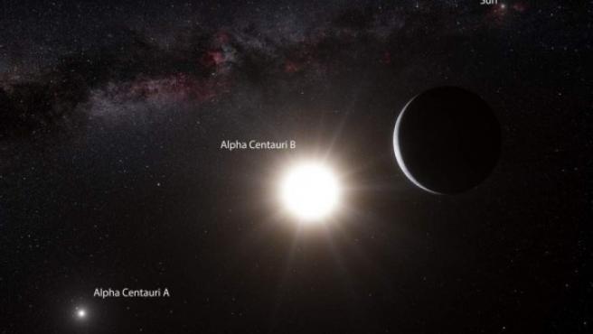Impresión artística que muestra al planeta que orbita a la estrella Alfa Centauri B. Un planeta con características de tamaño similares a la Tierra.