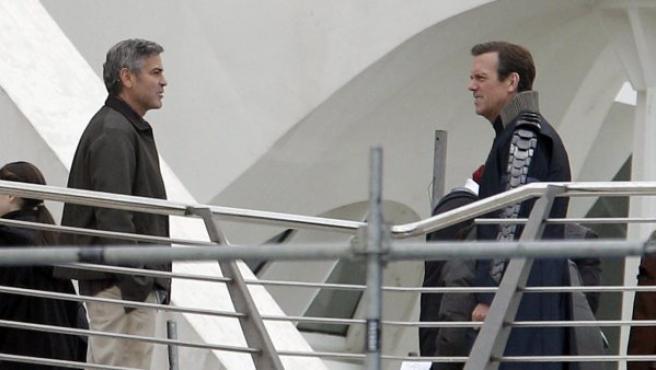 George Clooney y Hugh Laurie en el rodaje de 'Tomorrowland 'en Valencia.